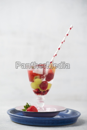 glass of cooled water flavoured with