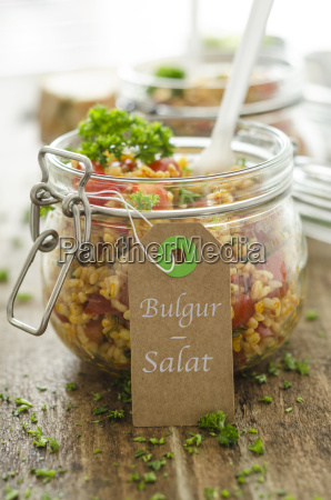 bulgur salad in jar label and
