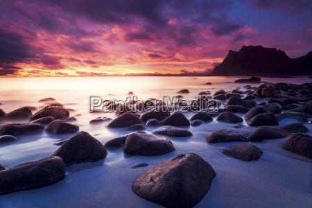 norway lofoten utakleiv beach at sunset