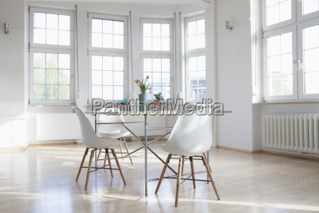 home interior with table and chairs