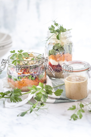rainbow salads in jars quinoa carrots