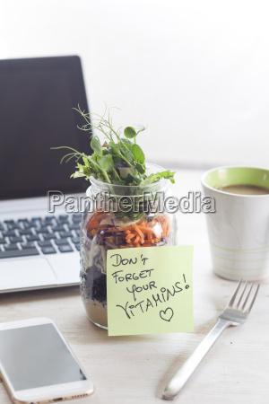 rainbow salad in jar notepade dont