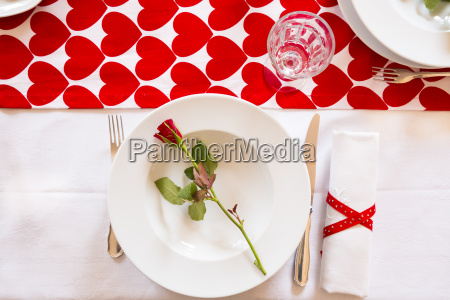 laid table at valentines day