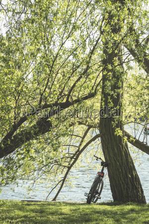 germany berlin peninsula stralau bicycle in