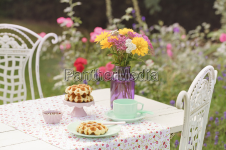 liege waffles on laid garden table