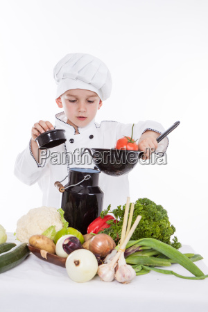 one little boy as chef cook