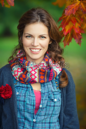 autumn portrait of young stylish woman