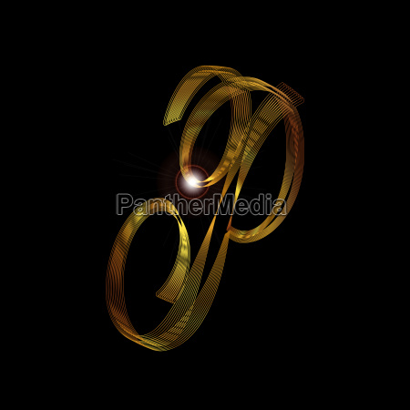 letter p in gold