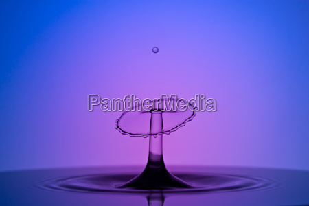 water drop collision macro blue and