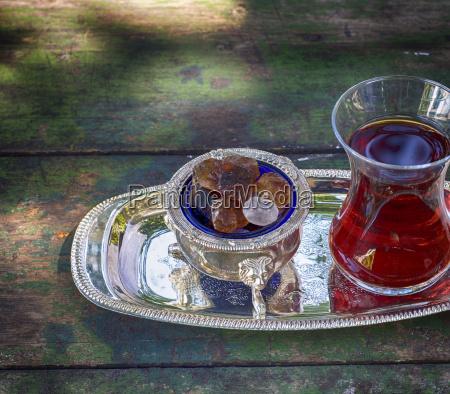 pieces of sugar and tea turkish