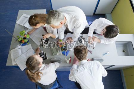 biology teacher teaching high school students