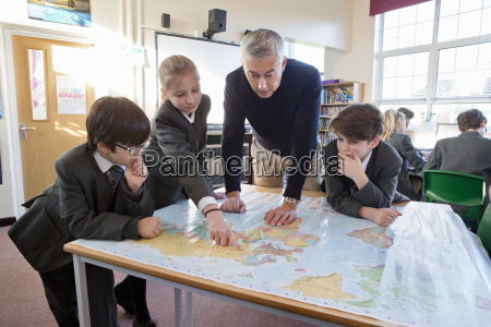 geography teacher and middle school students