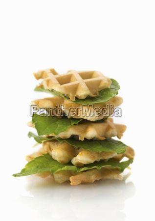 a stack of vegan waffles with