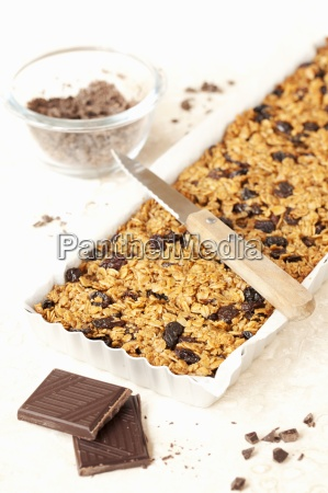 freshly baked flapjacks with chocolate and