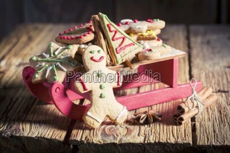 gingerbread biscuits on a sleigh for
