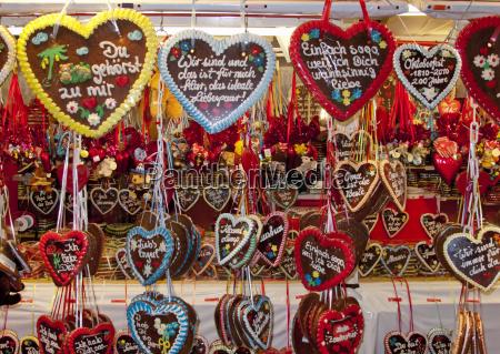 gingerbread hearts oktoberfest munich bavaria germany