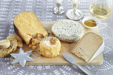 various types of cheeses and bread