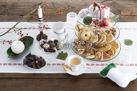 sweet christmas buffet with biscuits chocolate