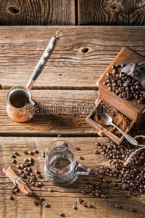 aromatic coffee and an old coffee