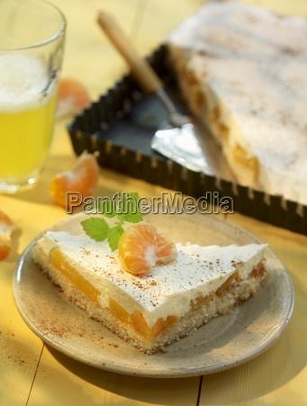 sour cream cake with mandarins and