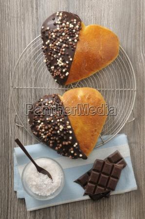brioche hearts with chocolate glaze and