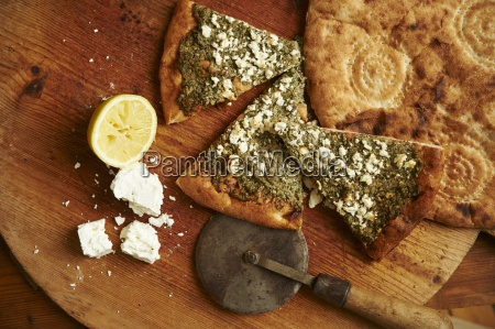 unleavened bread with goats cheese and