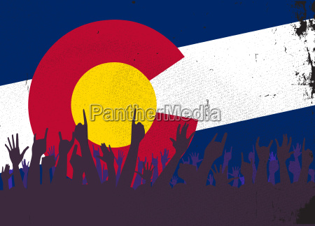 colorado state flag with audience