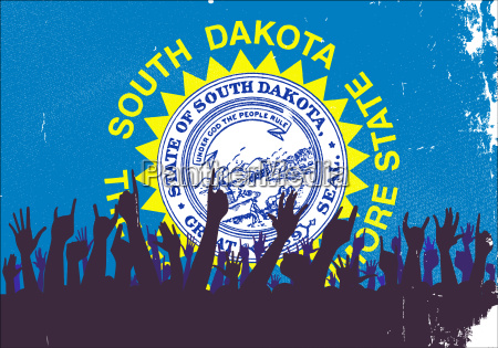 south dakota state flag with audience