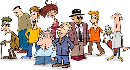 people group comic illustration