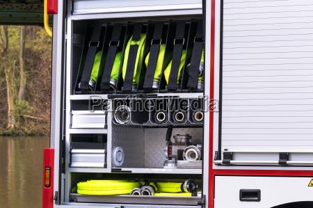firefighting equipment in a fire truck