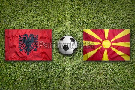 albania vs macedonia flags on soccer