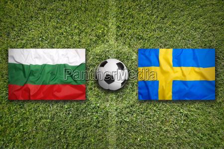 bulgaria vs sweden flags on soccer