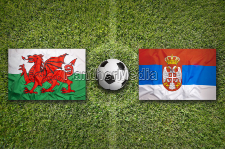 wales vs serbia flags on soccer