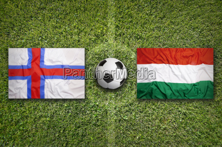 faeroe islands vs hungary flags on
