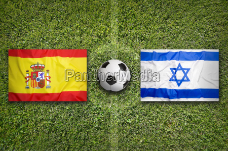 spain vs israel flags on soccer