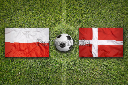 poland vs denmark flags on soccer