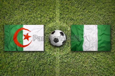 algeria vs nigeria flags on soccer