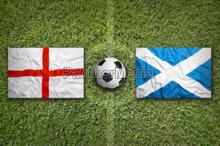 england vs scotland flags on soccer