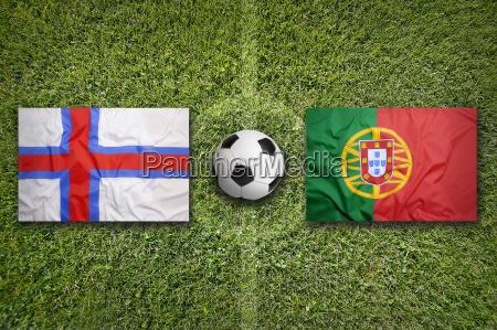 faeroe islands vs portugal flags on