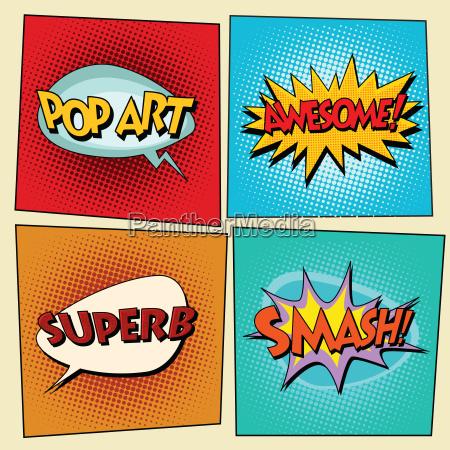 set of retro comic bubbles pop