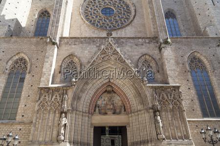 facade of catalan gothic church santa