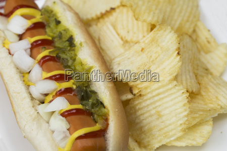 close up of veggie dog and