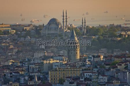 view to sueleymaniye mosque at sunrise