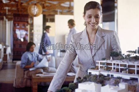 view of a businesswoman looking at