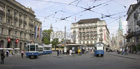 urban scene with streetcars paradeplatz zurich