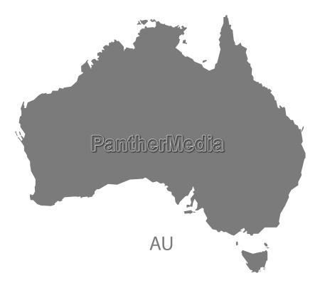 australia map grey