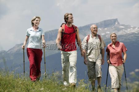 group of people hiking kleinwalsertal allgau
