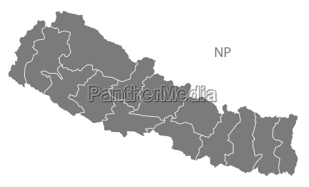 nepal with zones map grey