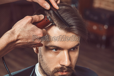 hipster client visiting barber shop