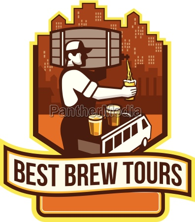 illustration of bartender carrying keg on